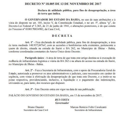 ILHÉUS: Governo da Bahia manda desapropriar parte de Itariri 2