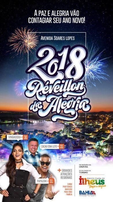 ILHÉUS: RÉVEILLON TERÁ FESTA COM VINGADORA, CACAU COM LEITE, PAPAZONI E BANDAS REGIONAIS 1
