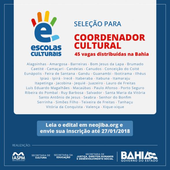 Ilhéus e Itabuna têm vagas para Coordenador de Cultura 5