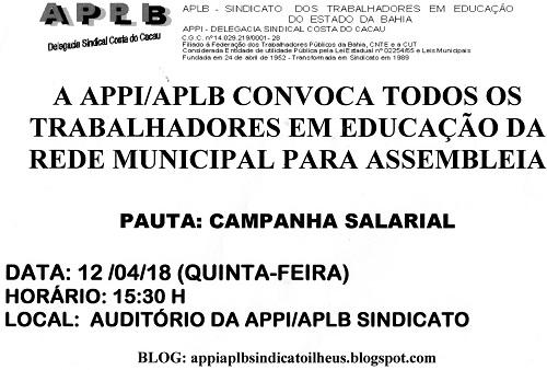 ILHÉUS: APPI/APLB convoca trabalhadores em Educação para assembleia 4