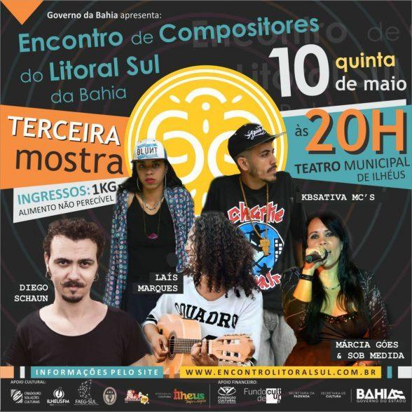 Laís Marques, Diego Schaun, KBSativa MC's e Márcia Góes e Sob Medida  são atrações do Encontro de Compositores desta quinta (10) 3