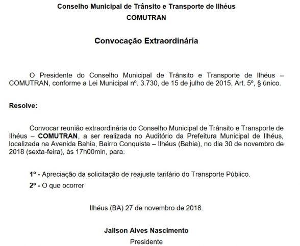 ILHÉUS: Conselho Municipal de Trânsito faz convocação extraordinária para analisar reajuste tarifário 2