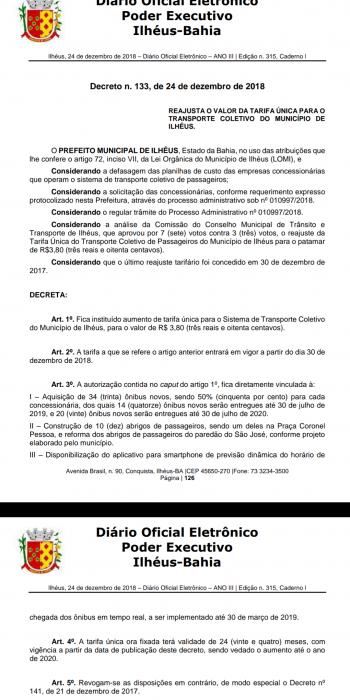 Vergonha: Prefeito de Ilhéus autoriza aumento de passagem para R$ 3,80 a partir de 30 de dezembro 2