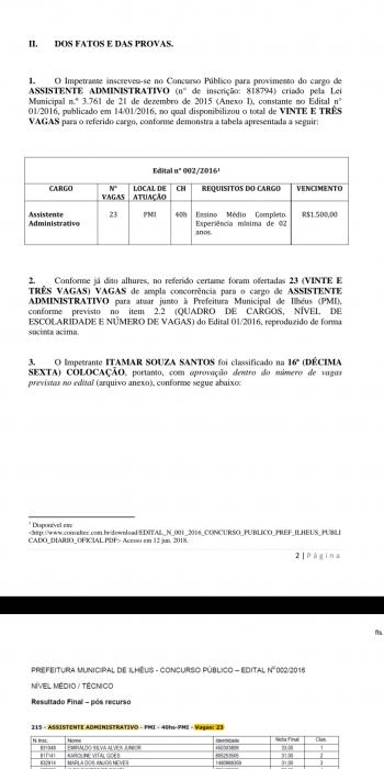 ILHÉUS: APROVADOS EM CONCURSO ENTRAM COM MANDADO DE SEGURANÇA PARA TOMAR POSSE 1