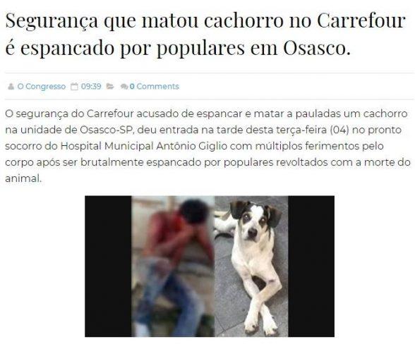 Segurança do Carrefour suspeito de matar cão não foi espancado em Osasco; A imagem é de um site de Itabuna 1