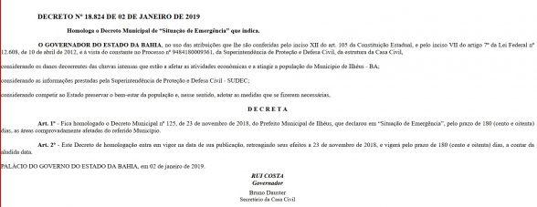 Governador Rui Costa homologa situação de emergência em Ilhéus 2