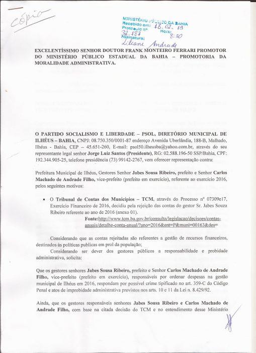 PSOL DE ILHÉUS, PEDE PUNIÇÃO PARA JABES E CACÁ, PELAS IRREGULARIDADES APONTADAS PELO TRIBUNAL DE CONTAS DOS MUNICÍPIOS - TCM, NAS CONTAS DA PREFEITURA EM 2016 4