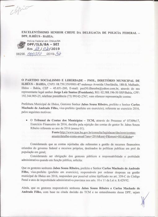 PSOL DE ILHÉUS, PEDE PUNIÇÃO PARA JABES E CACÁ, PELAS IRREGULARIDADES APONTADAS PELO TRIBUNAL DE CONTAS DOS MUNICÍPIOS - TCM, NAS CONTAS DA PREFEITURA EM 2016 2