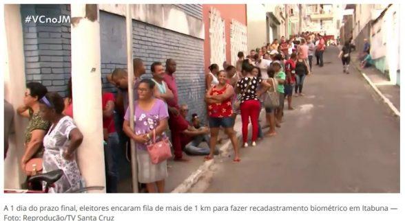 A 1 dia do prazo final, eleitores encaram fila de mais de 1 km para fazer biometria em Itabuna 3