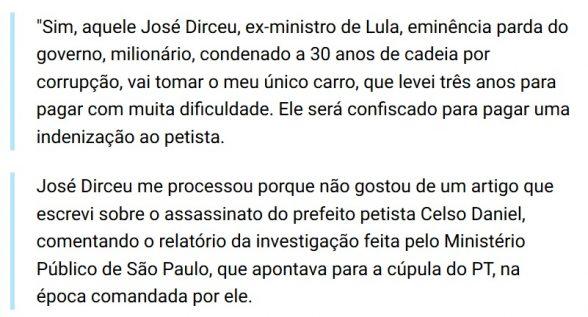 Covarde, impiedoso e vingativo, Zé Dirceu toma carro de jornalista do interior da Bahia 2