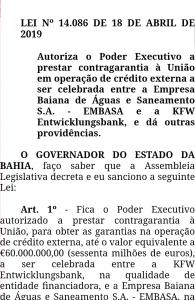 Rui sanciona empréstimo de R$ 260 milhões de banco alemão para Embasa 2