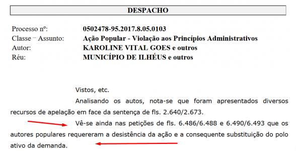 ILHÉUS: JUSTIÇA IMPEDE DESISTÊNCIA DE AUTORES DE AÇÃO POPULAR QUE CULMINOU NA DEMISSÃO DE SERVIDORES 1