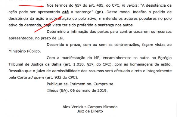 ILHÉUS: JUSTIÇA IMPEDE DESISTÊNCIA DE AUTORES DE AÇÃO POPULAR QUE CULMINOU NA DEMISSÃO DE SERVIDORES 2