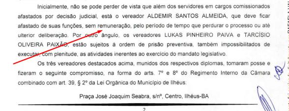 ILHÉUS: VEREADORES PRESOS E AFASTADOS RECEBERÃO SALÁRIO NORMALMENTE 2