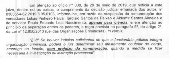 ILHÉUS: VEREADORES PRESOS E AFASTADOS RECEBERÃO SALÁRIO NORMALMENTE 3