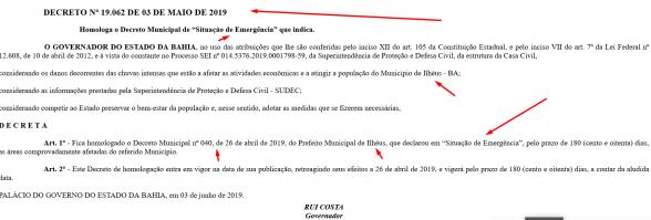 Governo do Estado homologa decreto de situação de emergência de Ilhéus 1