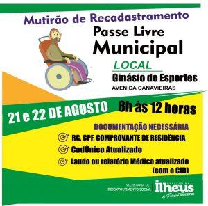 ILHÉUS: Prefeitura realiza Mutirão do Passe Livre Municipal nos dias 21 e 22 1