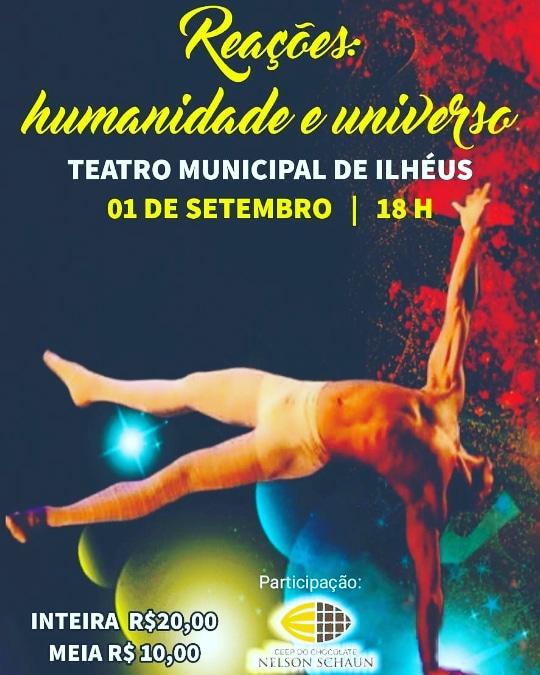 """Espetáculo """"REAÇÕES"""" entra em cartaz no Teatro Municipal de Ilhéus"""