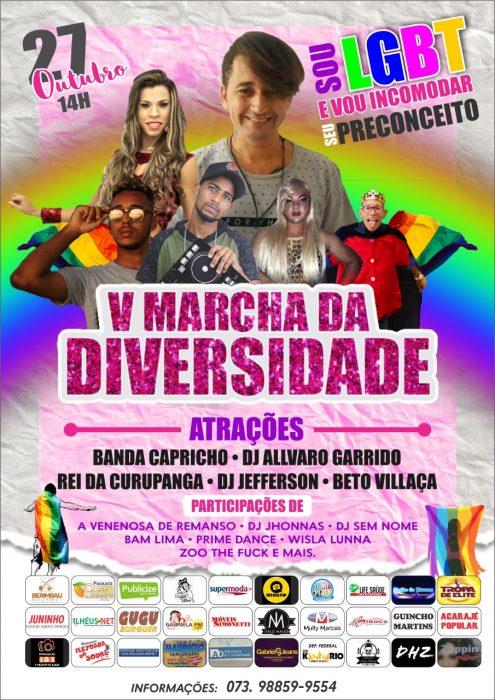 Viola de doze, Rei da Curupanga, Banda Capricho e Léo Kret são atrações da V Marcha da Diversidade de Ilhéus, que acontecerá neste domingo (27) 6