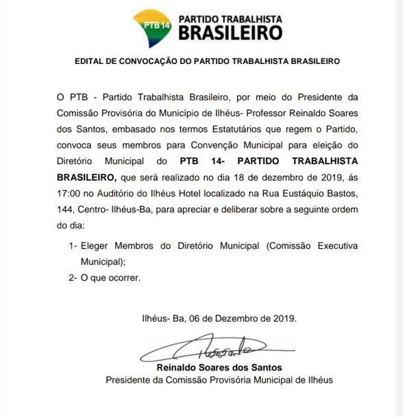PTB de Ilhéus realiza convenção municipal para eleição do Diretório 1