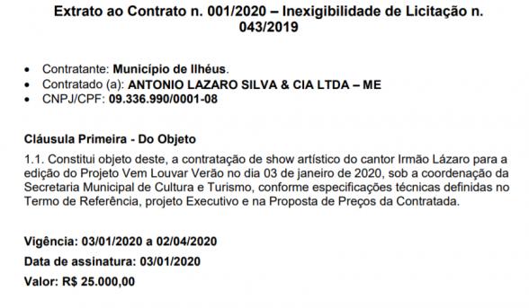 SHOW DO IRMÃO LÁZARO CUSTOU 25 MIL A PREFEITURA DE ILHÉUS 2