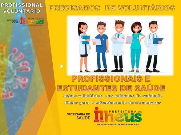 Prefeitura de Ilhéus abre vagas para voluntários da saúde no combate ao Coronavírus 3