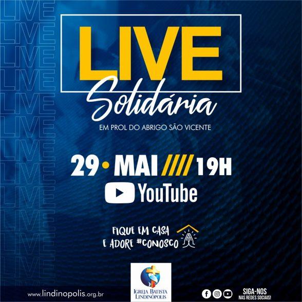 Igreja Batista Lindinópolis faz live solidária hoje 29/05/2020 às 19 horas no YouTube 5